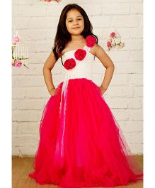 Pinkcow Off Shoulder Gown With Flowers Attached - Pink