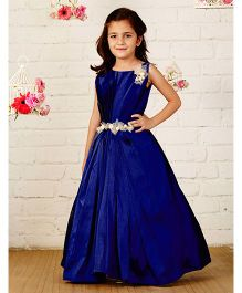 Pinkcow Sleeveless Gown With Broach & Belt - Navy Blue