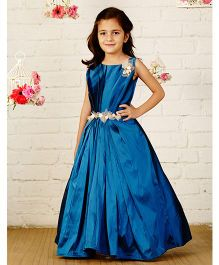 Pinkcow Sleeveless Gown With Broach & Belt - Teal Blue
