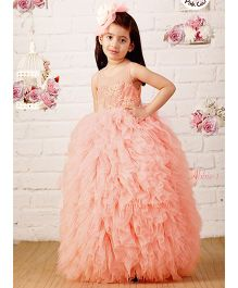 Pinkcow Gown With Flowers And Pearl Applique - Pink