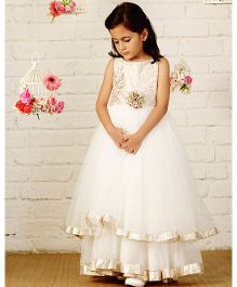 Pinkcow Sleeveless Gown With Golden Flower - White