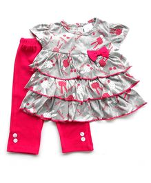 Dazzling Dolls Layered Printed Tunic Set With Ridged Leggings - Grey & Pink