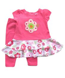 Dazzling Dolls Emboridered Layered Tunic Set With Leggings - Pink
