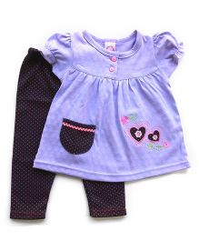Dazzling Dolls Embroidered Tunic Set With Polka Dot Leggings - Purple