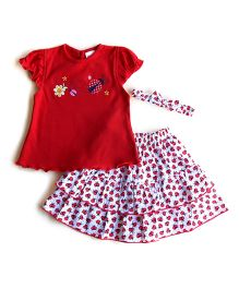 Dazzling Dolls Embroidered Lady Bird Skirt & Top Set With Hairband - Red
