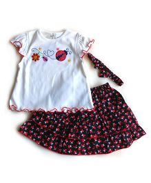 Dazzling Dolls Embroidered Lady Bird Skirt & Top Set With Hairband - White