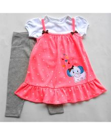 Dazzling Dolls Designer Pinafore Tunic & Top Set With Leggings - Orange