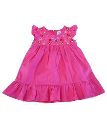 Dazzling Dolls Embroidered Ruffled Dress - Dark Pink