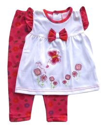 Dazzling Dolls Embroidered Tunic Set With Printed Leggings - White