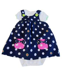 Dazzling Dolls Polka Dot Pinafore Dress & Onesie Set - Dark Blue