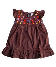 Dazzling Dolls Embroidered Ruffled Dress - Dark Brown