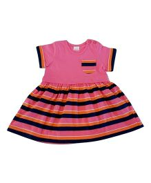 Dazzling Dolls Striped Printed Dress & Bloomer - Pink