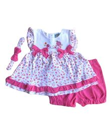 Dazzling Dolls Embroidered Dress & Shorts  With Hairband - Pink