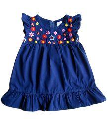 Dazzling Dolls Embroidered Ruffled Dress - Dark Blue