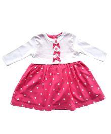 Dazzling Dolls Polka Dot Dress With Long Sleeve Bow Shrug - Pink