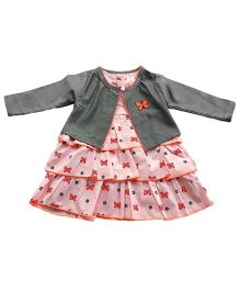 Dazzling Dolls Butterfly Print Dress With Long Sleeve Shrug - Grey