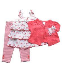 Dazzling Dolls Bow Applique Shrug With Dress & Leggings Set  - Pink