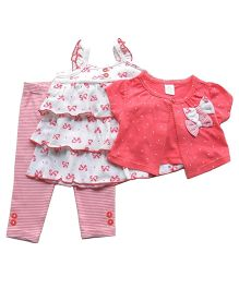 Dazzling Dolls Bow Applique Shrug With Dress & Leggings Set  - Pink