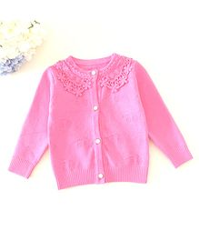 Dazzling Dolls Thick Cardigan With Lace Collar - Pink