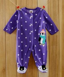 Dazzling Dolls Polka Dotted Purple Footed Fleece Winter Romper - Purple