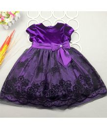 Dazzling Dolls Embroidered Party Dress - Purple