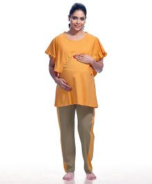 Kriti Half Sleeves Maternity Top And Pajama - Yellow Brown