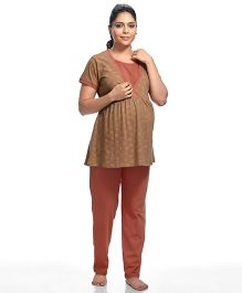 Kriti Short Sleeves Maternity Night Suit Floral Print - Brown Peach
