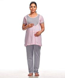 Kriti Short Sleeves Maternity Nursing Top And Pajama - Pink Grey