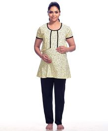 Kriti Half Sleeves Maternity & Nursing Dotted Top And Pajama - Cream Black