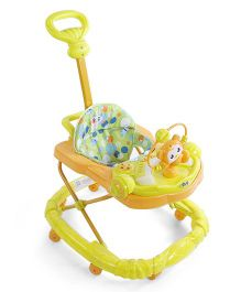 Musical Baby Walker With Toy Tray - Green Orange