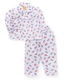 Yellow Duck Full Sleeves Night Suit Floral Print - White Purple