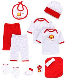 Babyhug Gift Set Lion Print Pack of 13 - Red White