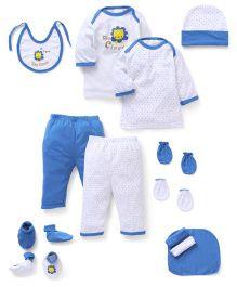 Babyhug Gift Set Lion Print Pack of 13 - Blue White