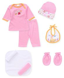 Babyhug Baby Clothing Gift Set Pack of 9 - Pink White
