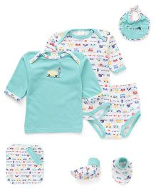 Babyhug Gift Set Vehicle Embroidery Pack of 7 Piece - Green White