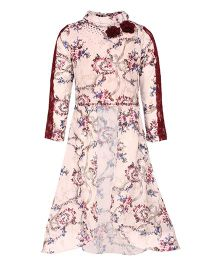 Cutecumber Partywear Floral Print Cape Top - Light Pink & Maroon