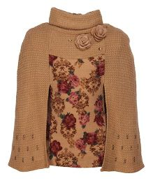 Cutecumber Partywear Top With Stone Embellishments - Brown & Maroon