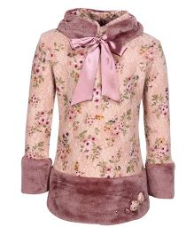 Cutecumber Full Sleeves Floral Printed Partywear Top With Floral Motifs - Light Peach And Plum