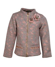 Cutecumber Partywear Jacket With Floral Motifs And Embellishments - Grey & Pink