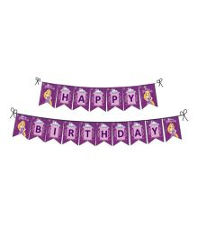 Disney Princess Rapunzel Happy Birthday Banner - Purple