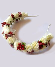 Reyas Accessories Floral Roses Hairband - Red & White