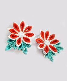 Reyas Accessories Kanzashi Floral Set Of 2 Hair Clip - Red & White