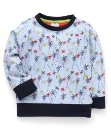 Ollypop Full Sleeves All Over Printed Sweatshirt - Light Blue