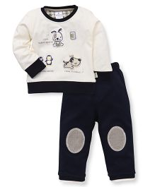 Ollypop Full Sleeves T-Shirt And Bottoms Puppy Patch - Cream Navy