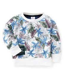 Ollypop Full Sleeves All Over Leaf Printed Sweatshirt - Cream