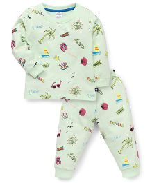 Ollypop Full Sleeves Top And Pajama Multiprint - Light Green