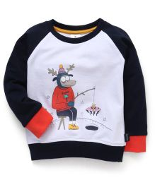 Ollypop Full Raglan Sleeves Sweatshirt With Print - White & Navy