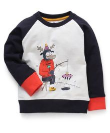 Ollypop Full Raglan Sleeves Sweatshirt With Print - Cream & Navy