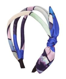 Cutecumber Fabric Hair Band With Bow Applique - Blue