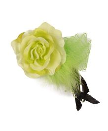 Cutecumber Fabric Hair Fascinator Alligator Clip Rose Applique - Green